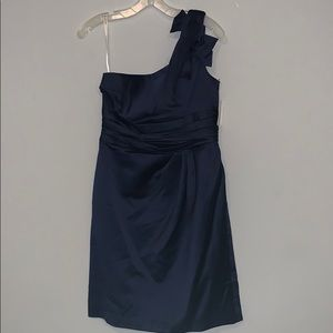 One shoulder short satin dress with bow